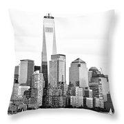 Lower Manhattan In Black And White Throw Pillow