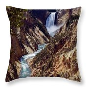 Lower Yellowstone Falls And River Throw Pillow