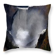 Lower Yellowstone Waterfall Falls In Canyon National Park Throw Pillow