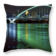 Lowry Bridge In St. Patrick's Day Green Throw Pillow