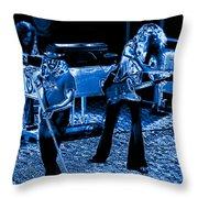 Ls #40 Enhanced In Blue Throw Pillow