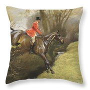 Lt Col Ted Lyon Jumping A Hedge Throw Pillow