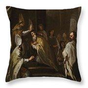 Luca Giordano Naples 1634 - 1705 The Consecration Of Saint Gregorio Armeno Throw Pillow