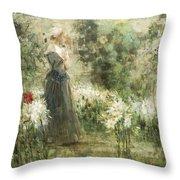 Luca Postiglione Napoli 1876 - 1936 The White Fleurs-de-lis Throw Pillow