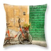 Lucca Italy Bike Watercolor Throw Pillow