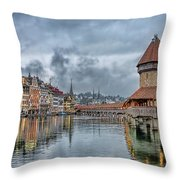 Lucerne Chapel Bridge Throw Pillow