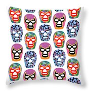 Lucha Libre Masks Throw Pillow