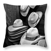 Luckenbach Hats Black And White Throw Pillow
