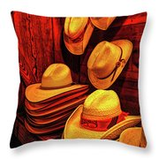 Luckenbach Hats Hdr Throw Pillow