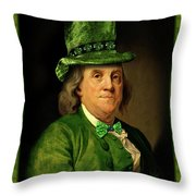 Lucky Ben Franklin In Green Throw Pillow