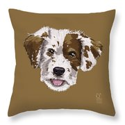 Lucky Brown Mixed Breed Throw Pillow
