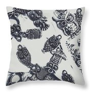 Lucky Charms Of Wise Old Owls Throw Pillow