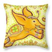 Lucky Elephant Orange Throw Pillow