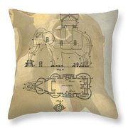 Lucy The Elephant Building Patent Throw Pillow