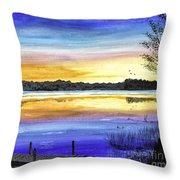 Ludington Sunrise Painting Throw Pillow