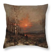 Ludwig Deutsch, Hunting In The Winter Throw Pillow
