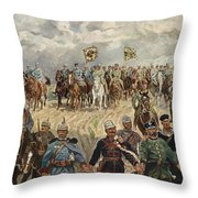 Ludwig Koch, Franz Josef I And Wilhelm II With Military Commanders During Wwi Throw Pillow