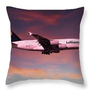 Lufthansa Airbus A380 D-aimh Throw Pillow