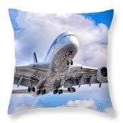Lufthansa Airbus A380 In Hdr Throw Pillow