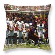 Luis Suarez Hits The Post Throw Pillow