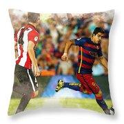 Luis Suarez Takes The Ball Past Athletic Bilbao's Eneko Boveda A Throw Pillow