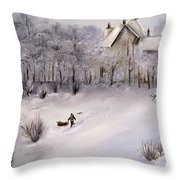Lukas Fetching Wood Throw Pillow