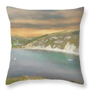 Lulworth Cove Panorama Throw Pillow