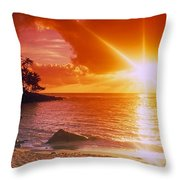Lumahai Beach Sunset Throw Pillow