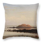 Lumber Schooners At Evening On Penobscot Bay By Fitz Henry Lane, 1863 By Fitz Henry Lane Throw Pillow