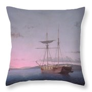 Lumber Schooners At Evening On Penobscot Bay By Fitz Henry Lane, 1863 Throw Pillow
