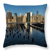 Luminous Blue Silver And Gold - Manhattan Skyline And East River Throw Pillow