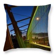 Luminous Green Bridge Throw Pillow