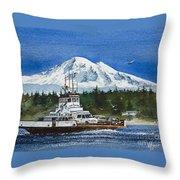Lummi Island Ferry And Mt Baker Throw Pillow