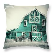 Luna Barn Teal Throw Pillow