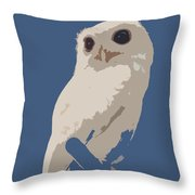Luna The Rescued White Leucistic Eastern Screech Owl Abstracted Throw Pillow