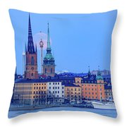 Lunar Teamwork Full Moon Rising Over Gamla Stan In Stockholm Throw Pillow