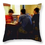 Lunch At The Cafe Downtown Throw Pillow