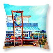 Lunch At The Clam Bar Throw Pillow