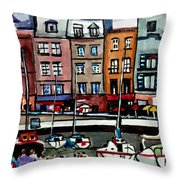 Lunch At The Harbor Throw Pillow