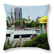 Lunch At The Pier Throw Pillow