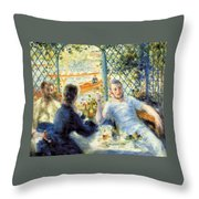 Lunch At The Restaurant Fournaise, The Rower's Lunch Throw Pillow