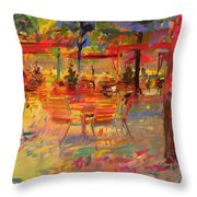 Lunch On The Terrace Throw Pillow