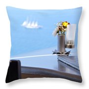 Lunch Over Santorini Throw Pillow