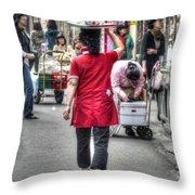 Lunch Run In Namdaemun Throw Pillow