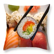 Lunch With  Sushi  Throw Pillow