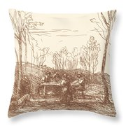 Luncheon In A Clearing (un Dejeuner Dans La Clairiere) Throw Pillow
