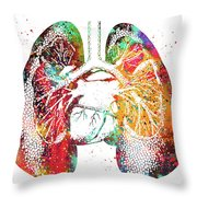 Lungs And Heart Throw Pillow