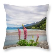 Lupin Flowers In Alpine Scenery At Kinloch, Nz. Throw Pillow