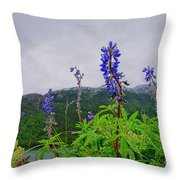 Lupine And Mountains Throw Pillow