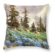 Lupines And Bluebells Throw Pillow